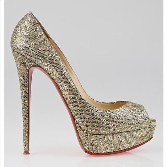 05f610db9e0 Christian Louboutin 150 glitter peep toe pumps